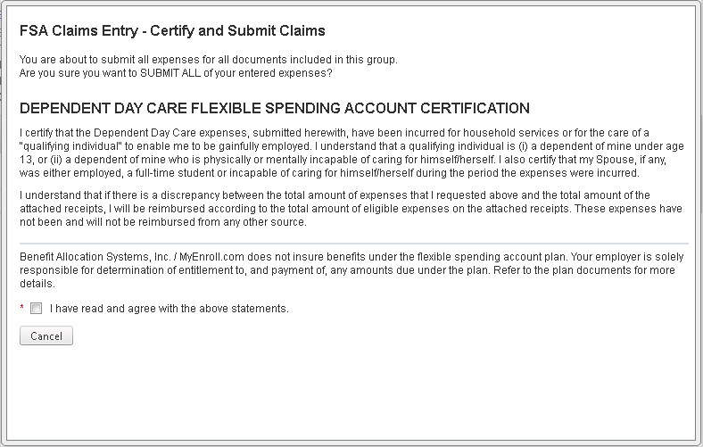 Entering a New Dependent Day Care FSA claim